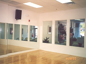 The studio, viewing windows, and lobby